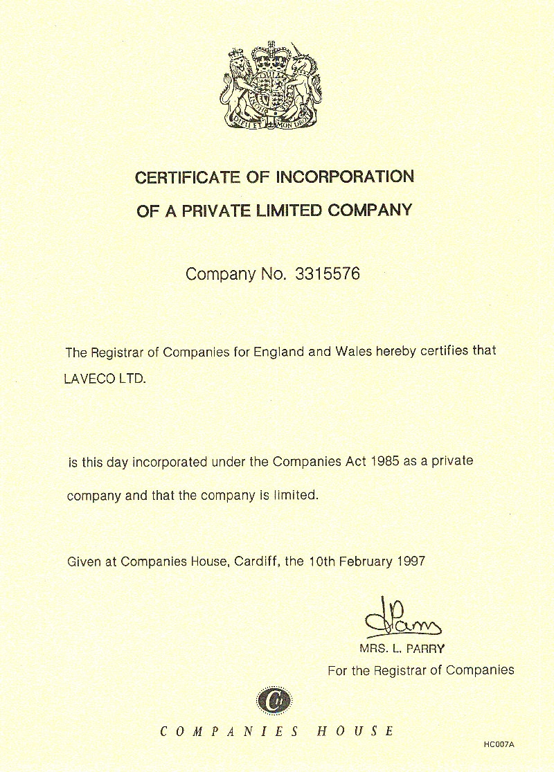 Laveco Group - UK office certificate of incorporation